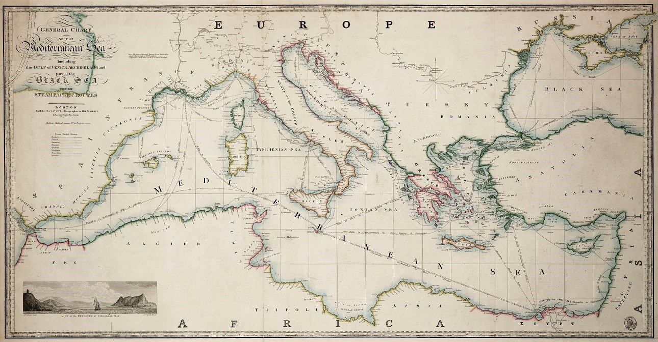 General chart of the Mediterranean Sea including the Gulf of Venice, Archipelago and part of the Black Sea with the steampacket routes